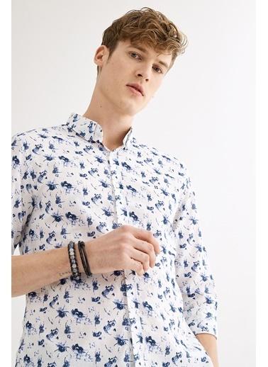 Avva Erkek  Baskılı Düğmeli Yaka Slim Gömlek A01S2298 İndigo